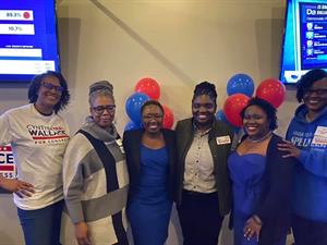 Cynthia Wallace With Spelman sisters During Election Night