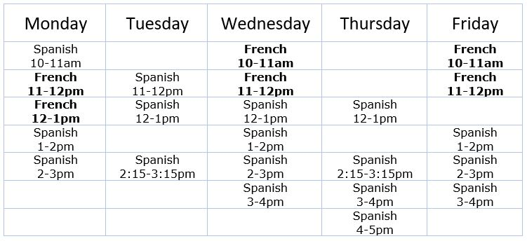 Foreign Language Tutor Schedule