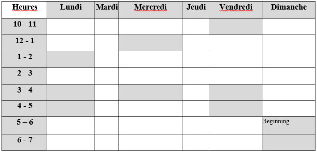 French Tutor Schedule