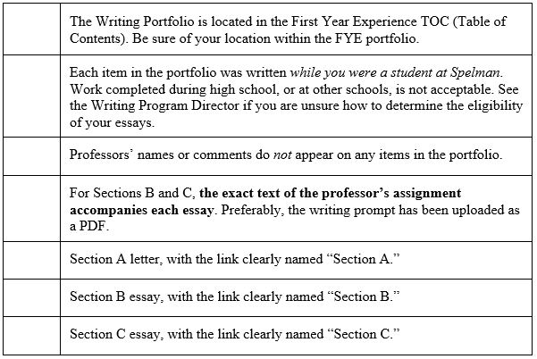 First Year Writing Portfolio  Spelman College Checklist Pay To Do Assignment also Best Chemistry Help Websites  High School Essay Sample