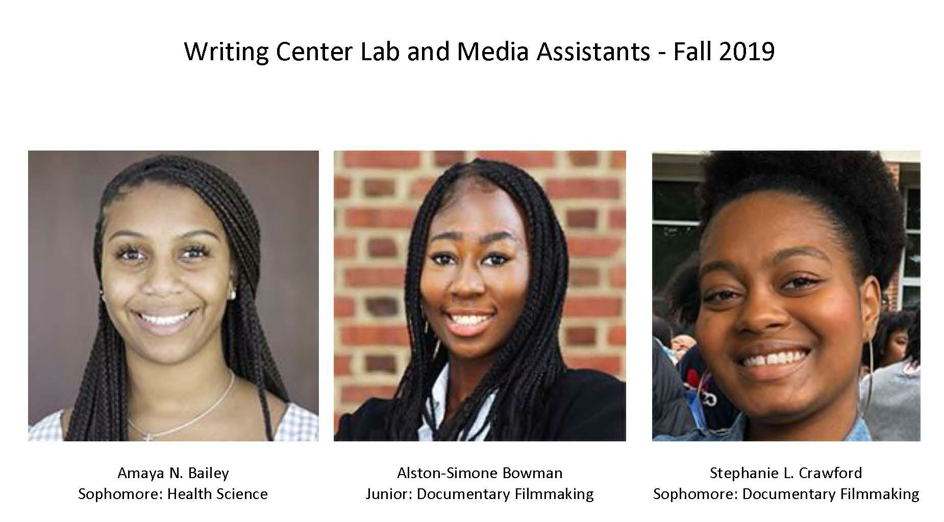 Writing Center Lab and Media Assistants - Fall 2019