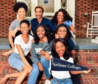 Students on Stairs with Spelman Pennant