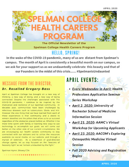 Health Careers Newsletter - April 2020