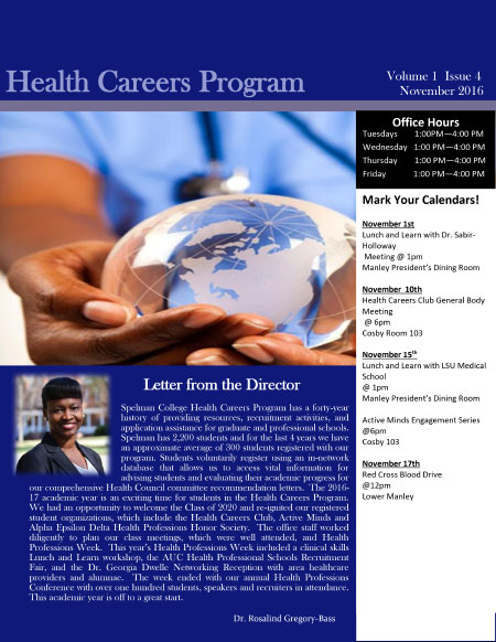 Health Careers Newsletter November 2016