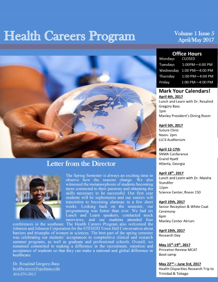 Health Careers Newsletter May 2017