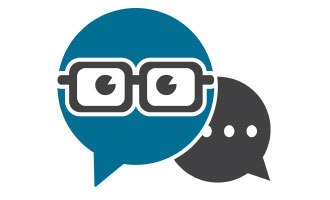 Comment bubbles with eyeglasses