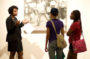 Maurita N. Poole, Graduate Assistant, gives tour of Bradley McCallum & Jacqueline Tarry: Evenly Yoked